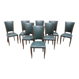 French Art Deco Solid Mahogany Dining Chairs - Set of 8