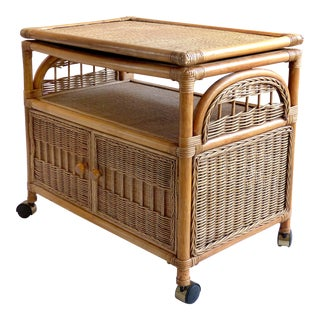 Rolling Rattan Bar Cabinet