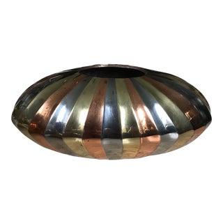 Vintage Art Deco Tricolor Metal Vase