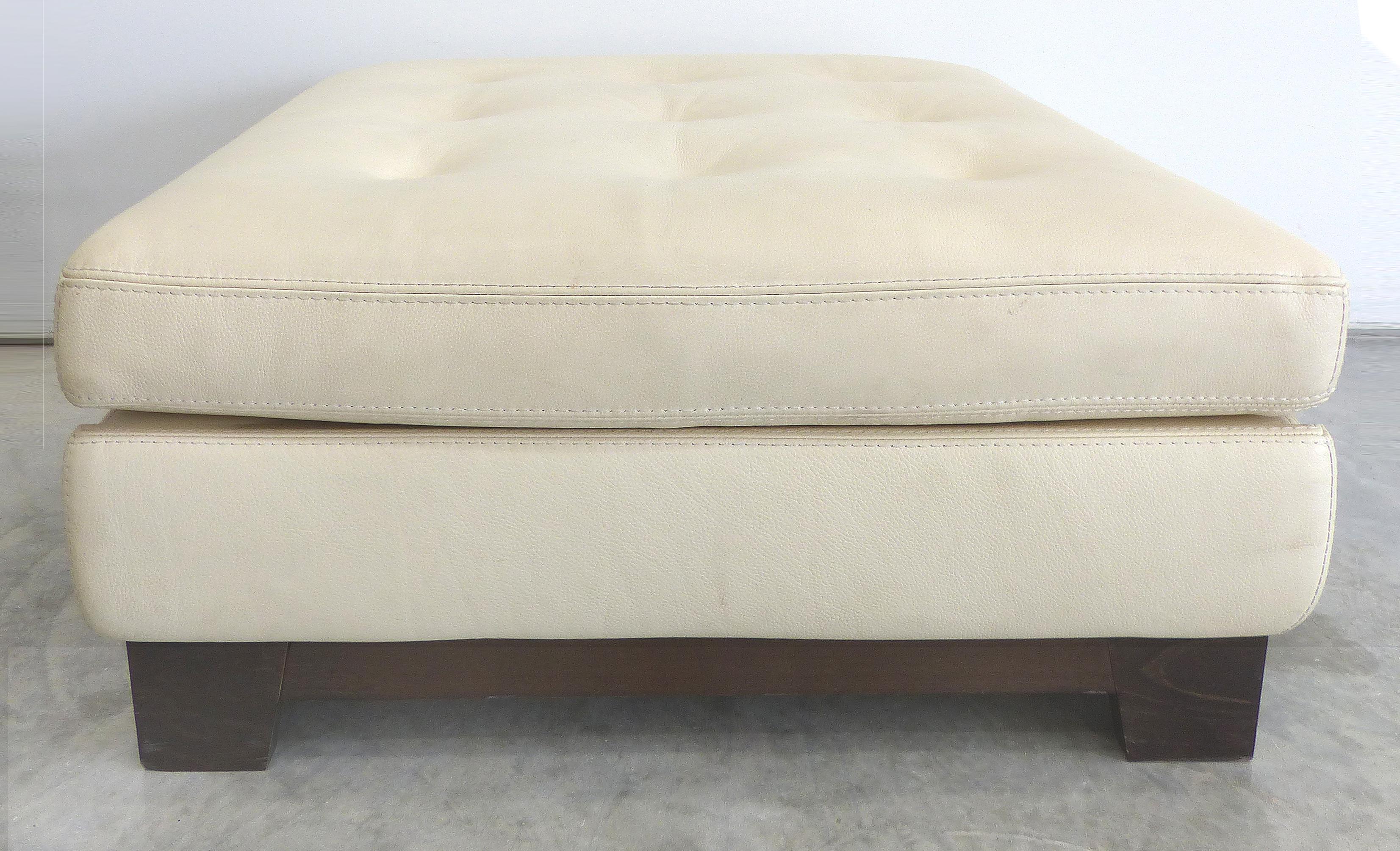 image of roche bobois white leather ottoman