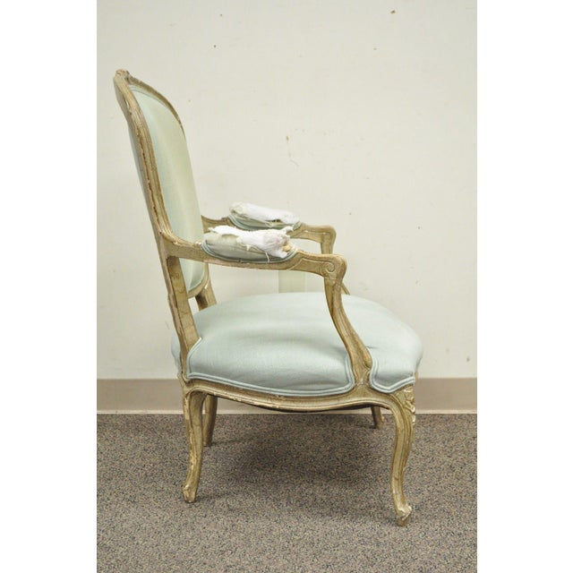 Vintage French Louis XV Style Distress Paint Carved Bergere Chair - Image 6 of 11