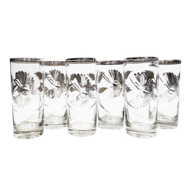 "Vintage ""Crane"" Silver Highball Glasses - Set of 6 - Image 1 of 5"