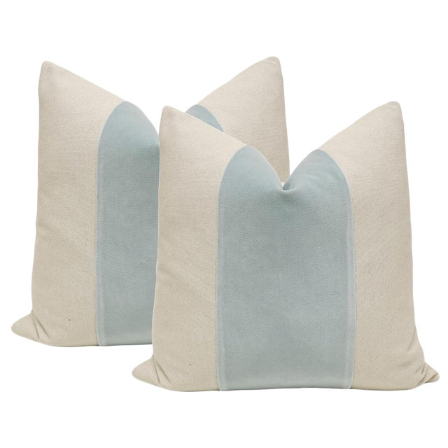"22"" Spa Blue Velvet Panel and Linen Pillows - A Pair - Image 1 of 4"