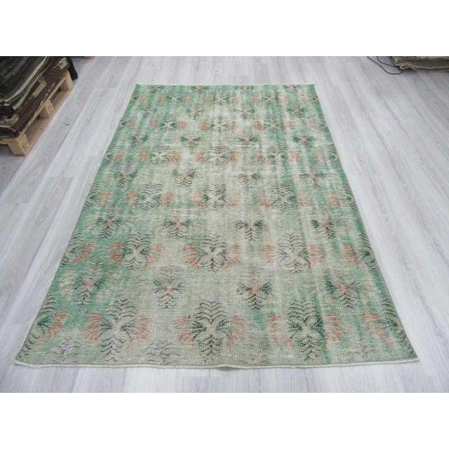 Vintage Distressed Green Turkish Deco Rug