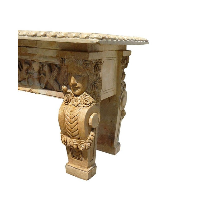 Image of Mediterranean Marble Garden Bench