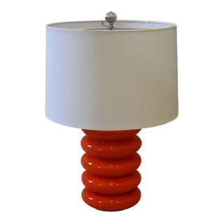 Mid-Century French Orange Glass Lamp