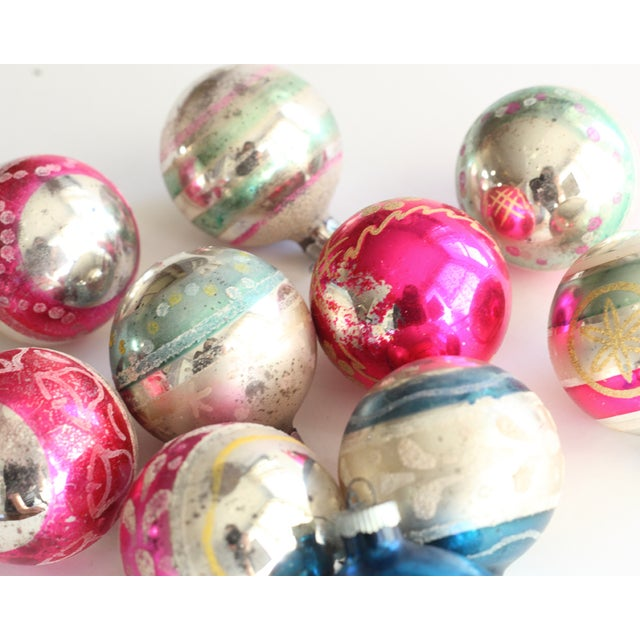 Image of 10 Vintage Glass Ornaments
