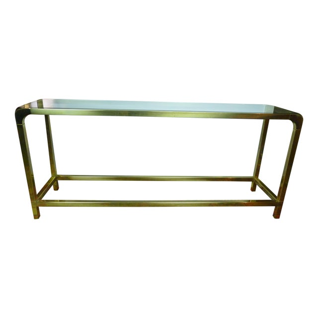 Mastercraft Vintage Brass & Glass Console Table - Image 1 of 11