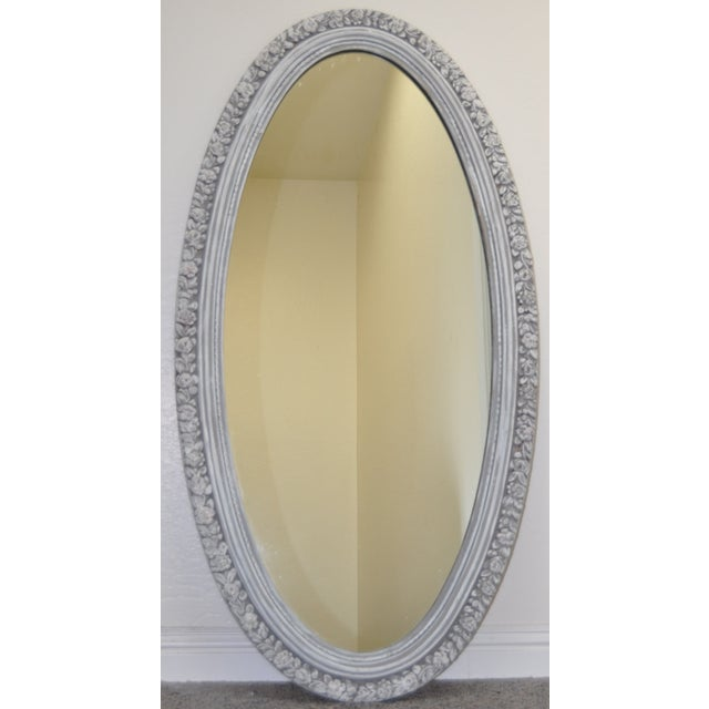 1950's Vintage French Linen Chalk Paint Mirror - Image 2 of 6
