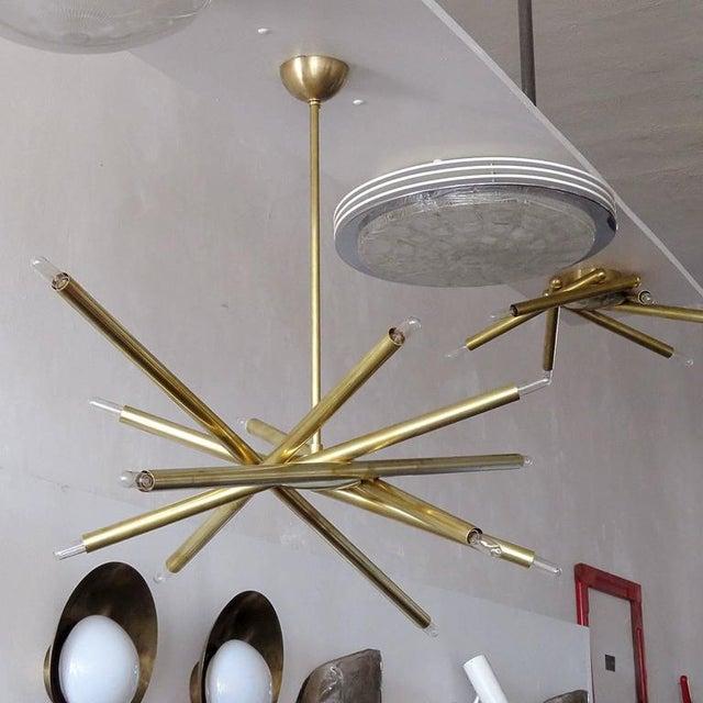 Raw Brass & Spiral Chandelier - Image 5 of 11