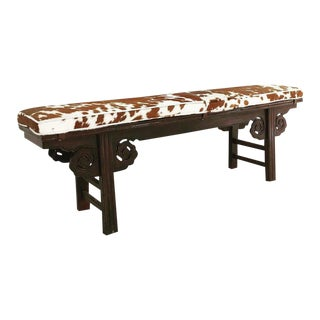Forsyth One of a Kind Vintage Chinese Carved Bench with Custom Cowhide Cushion