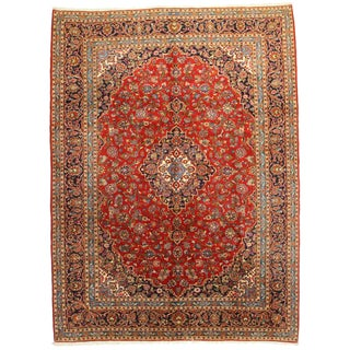 Hand-Knotted Persian Kashan Rug - 9′10″ × 13′4″