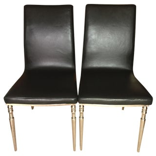 Black Leather & Chrome Dining Chairs - Pair