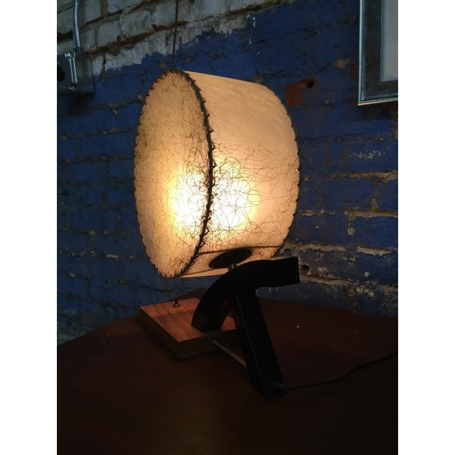 Image of 1950's Brass Wood Table Lamp