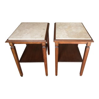 Walnut End Tables With Marble Top - Pair
