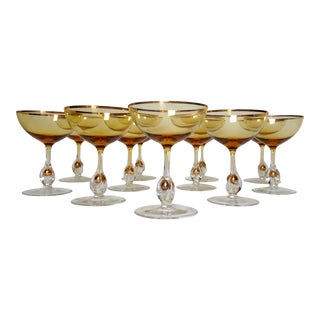 c.1960s Italian Handblown Amber & Gilt Gold Crystal Champagne Coups -Set of 11