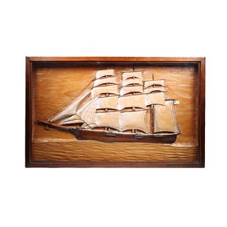 Shadowboxed Diorama Schooner Carving