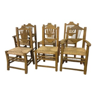 Carved Wood Rush Seat Dining Chairs - Set of 6