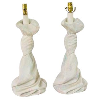 Draped Plaster Table Lamps - Pair