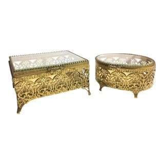 Vintage 1950s Filigree Brass Jewelry Boxes - A Pair