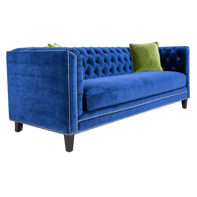 Pasargad Victoria Collecion Royal Blue Velvet Sofa - Image 2 of 7