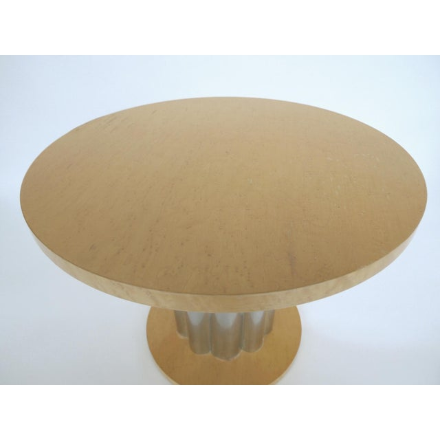 Deco Style Round Chrome & Sycamore Side Tables - A Pair - Image 4 of 10