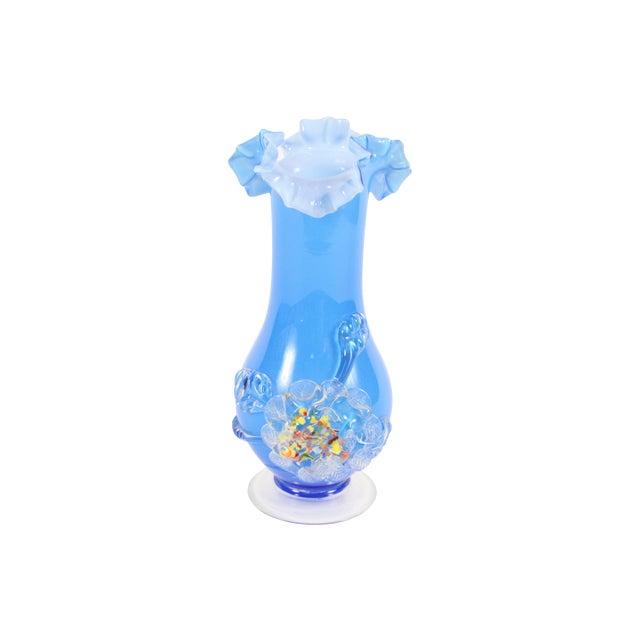 Blue 60's Art Glass Vase - Image 1 of 3