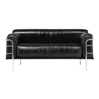 Le Corbusier Style Leather and Chrome Sofa