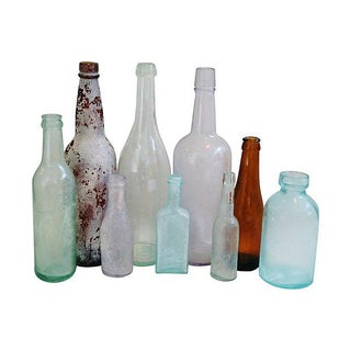Colorful Antique Bottle Collection - Set of 9