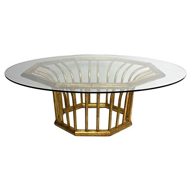Italian 20k Gold Leaf Round Coffee Table - Image 1 of 5