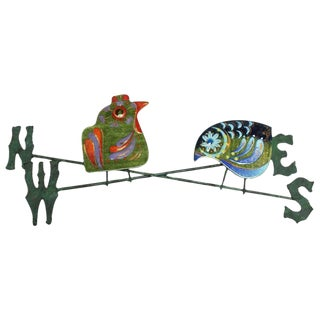 Curtis Jere Enamel on Copper Bird Weather Vane Wall Sculpture