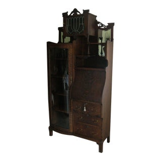 Victorian Side by Side Secretary Desk Bookcase