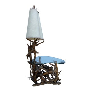 Vintage Driftwood Lamp & Built in Table