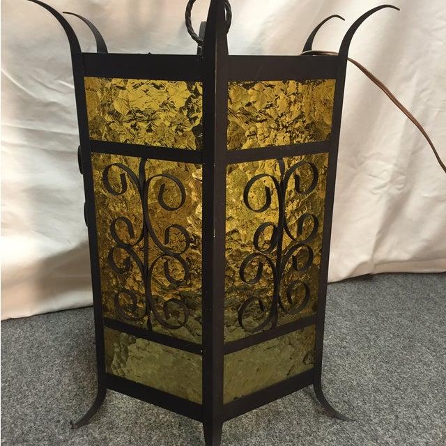 Gothic Spanish Revival Iron Slag Glass Light - Image 3 of 6
