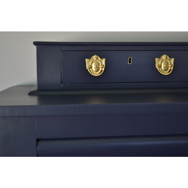 Antique Empire Buffet Bar in Navy Blue & White - Image 4 of 8