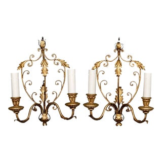Pair French Delicate Gilt Metal Two Light Sconces