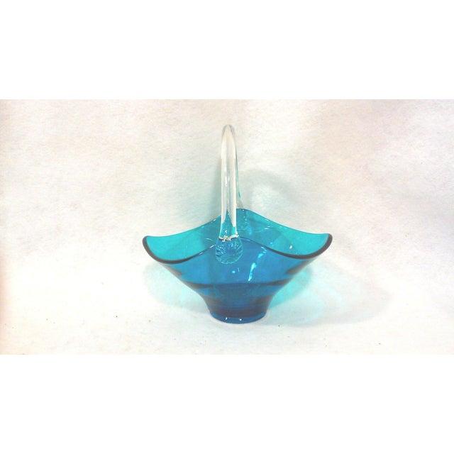 Image of Blue Art Glass Handled Bowl