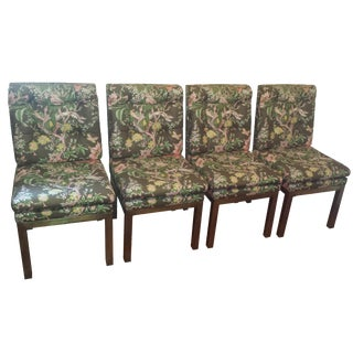 John Widdicomb Bronze & Floral Parsons Dining Chairs - Set of 4