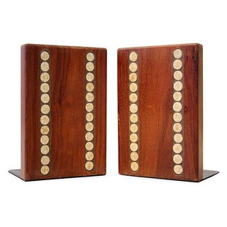 Jane & Gordon Martz Wood & Ceramic Bookends - Pair