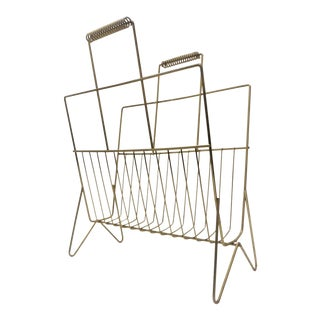 Mid-Century Gold Brass Metal Magazine Rack