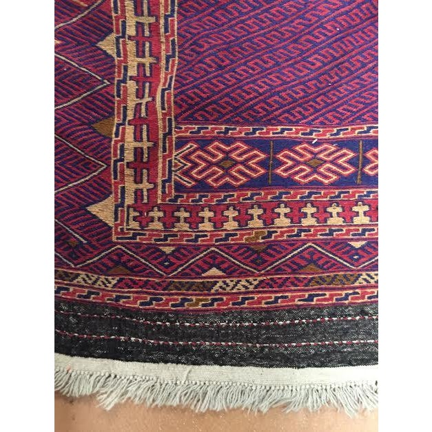 "Blue and Red Kilim Runner Rug - 3' X 8'5"" - Image 5 of 5"