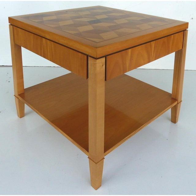 Baker Inlaid Geometric Design Side Table Chairish