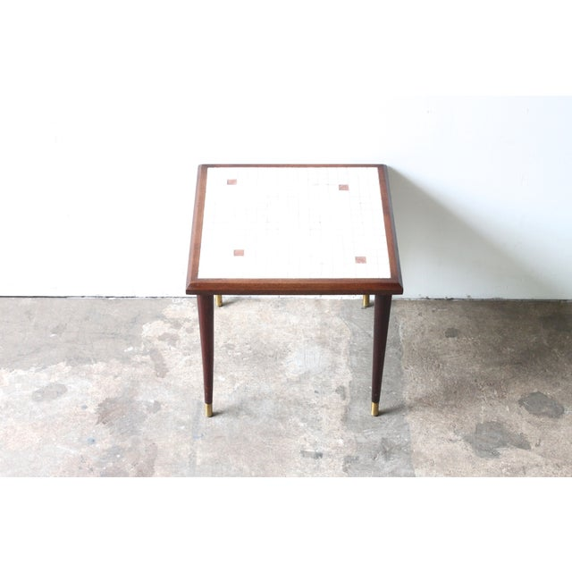Image of White Mosaic Top Side Table