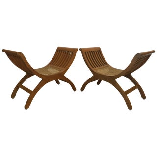 Curule Style Cane & Wood Chairs - A Pair