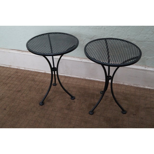 Round Metal Patio Side Tables - A Pair - Image 3 of 10