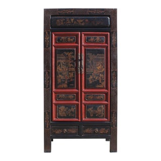 Chinese Fujian Black Red Golden Graphic Armoire Storage Cabinet