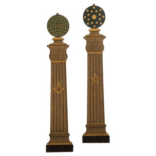 Pair of Masonic Order Plaques Shaped like Classical Columns English circa 1910