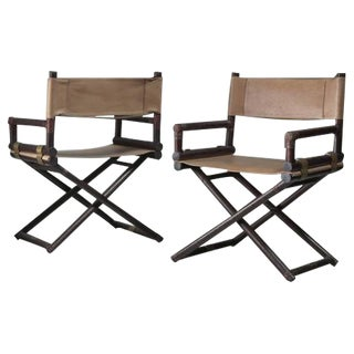 McGuire Pair of Wood, Leather and Brass Director's Chairs, USA, 1950s