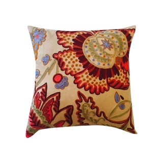 Heavy Crewl Embroidery Floral Linen Pillow