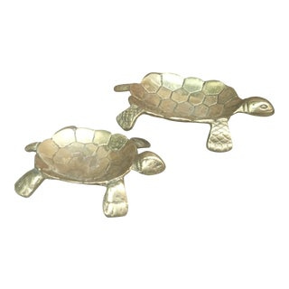 Vintage Brass Turtle Trinket Dish Tray - A Pair